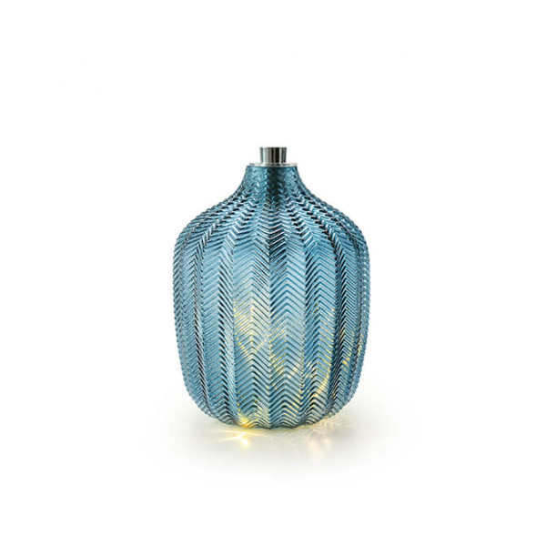 Blaues Glas mit Lichterkette, klein (Indoor)